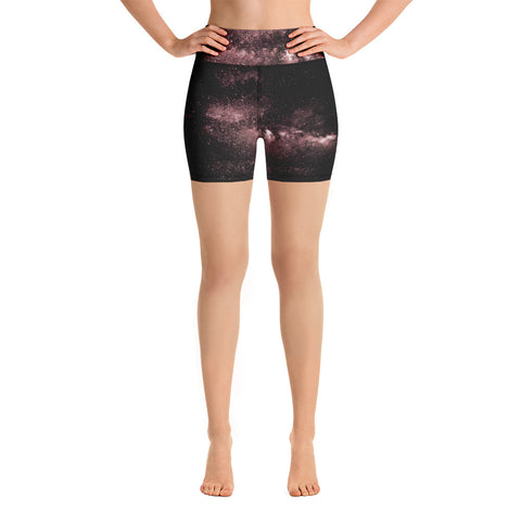 Galaxy Designer Women's Yoga Shorts, Pink Space Milky Way Women's Galaxy Print Yoga Shorts, Universe Cosmos Designer Premium Quality Women's High Waist Spandex Fitness Workout Yoga Shorts, Yoga Tights, Fashion Gym Quick Drying Short Pants With Pockets - Made in USA/EU/MX (US Size: XS-XL)
