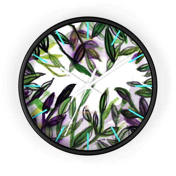 Green Purple Tropical Leaf Print Designer 10 in. Dia. Indoor Wall Clock- Made in USA-Wall Clock-10 in-Black-White-Heidi Kimura Art LLC