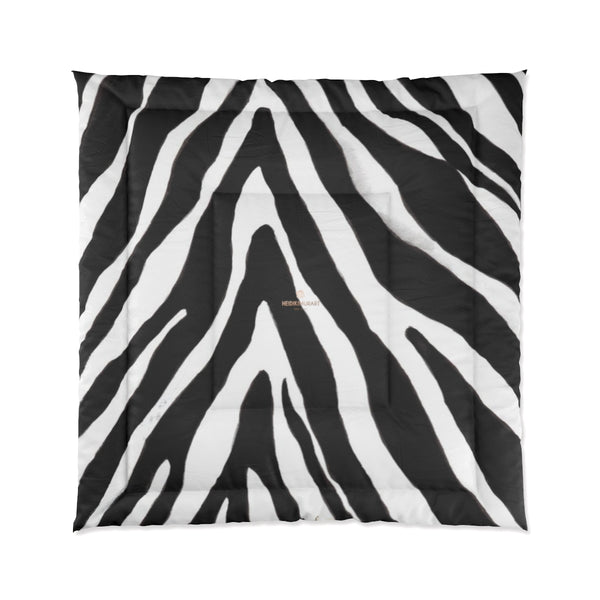 Zebra Animal Print Comforter Blanket for Queen/Full/Twin/King Size Bed-Made in USA-Comforter-88x88 (Queen Size)-Heidi Kimura Art LLC