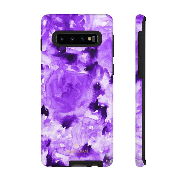 Purple Floral Rose Phone Case, Roses Floral Print Tough Designer Phone Case -Made in USA-Phone Case-Printify-Samsung Galaxy S10-Glossy-Heidi Kimura Art LLC