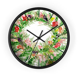 Shima Sweet Colorful Spring Floral Print Designer 10 in. Dia. Indoor Wall Clock-Made in USA,Floral Wall Clock,Rose Wall Clok,Pink Rose Clock, Unique Large Wood Wall Clock, Rose Clock Home Decor Shima Sweet Colorful Spring Floral Print Designer 10 in. Dia. Indoor Wall Clock- Made in USA