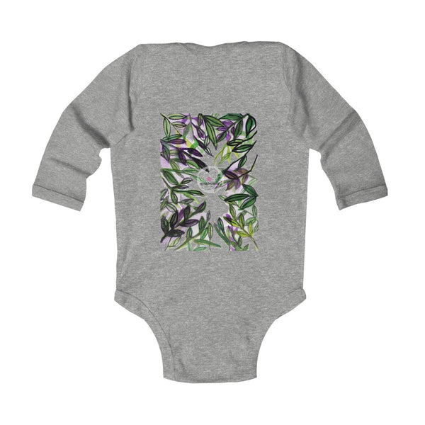 Green Tropical Leaves Baby Infant Long Sleeve Bodysuit - Made in UK (UK Size: 6M-24M)-Kids clothes-Heidi Kimura Art LLC