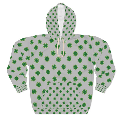 Light Gray Green Clover St. Patrick's Day Unisex Pullover Hoodie For Men/Women- Made in USA-Unisex Hoodie-Heidi Kimura Art LLC