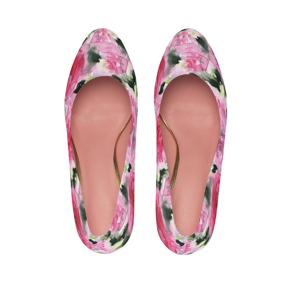 "Pink Princess Rose Designer Japanese Floral Print Women's 3"" High Heels Pumps Shoes-3 inch Heels-Heidi Kimura Art LLC"