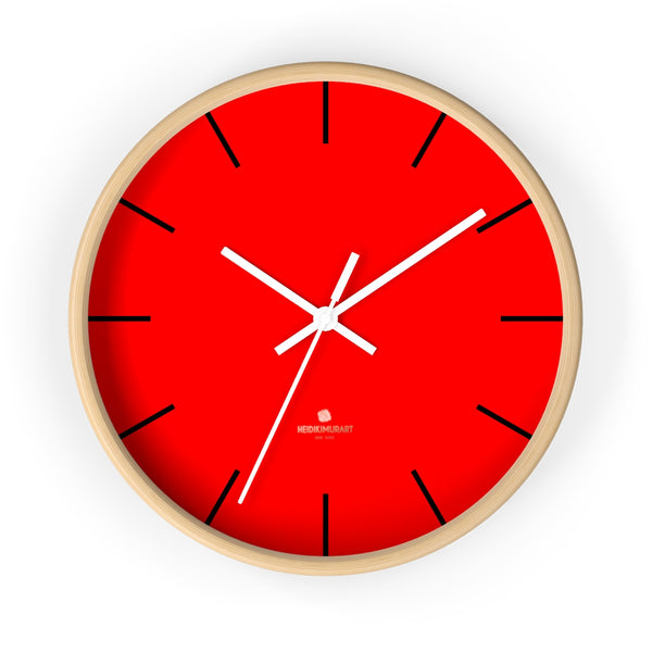 "Solid Bright Red Color Plain Modern 10"" Diameter Large Wall Clock- Made in USA-Wall Clock-10 in-Wooden-White-Heidi Kimura Art LLC"