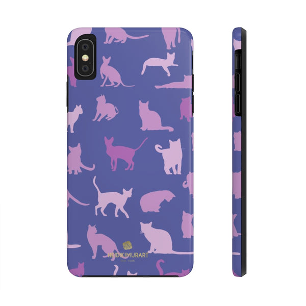 Purple Gray Cat Print Designer Case Mate Tough Phone Cases-Made in USA - Heidikimurart Limited