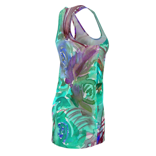 Blue Purple Rose Floral Print Women's Racerback Dress (US Size: XS-2XL) Made in USA-Women's Sleeveless Dress-Heidi Kimura Art LLC