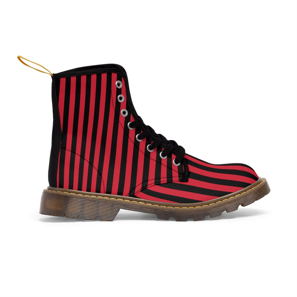 Red Striped Print Men's Boots, Black Red Stripes Best Hiking Winter Boots Laced Up Shoes For Men-Men's Boots-Printify-ArtsAdd-Heidi Kimura Art LLC
