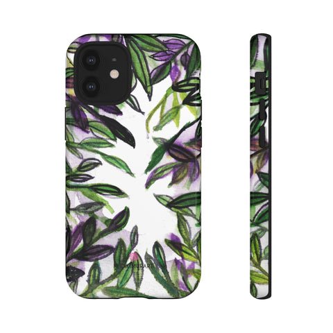 Tropical Leaves Print Phone Case, Hawaiian Style Floral Print Best Designer Art Designer Case Mate Best Tough Phone Case For iPhones and Samsung Galaxy Devices-Made in USA