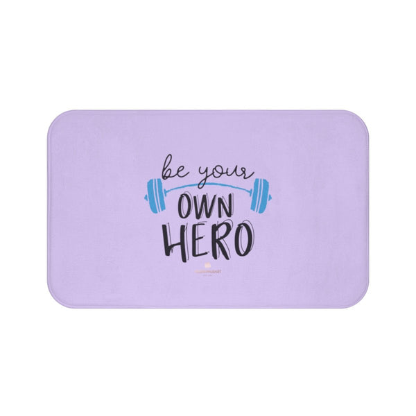 "Light Purple ""Be Your Own Hero"" Inspirational Quote Microfiber Bath Mat- Printed in USA-Bath Mat-Large 34x21-Heidi Kimura Art LLC"