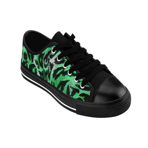 Green Leopard Animal Print Premium Men's Low Top Canvas Sneakers Running Shoes-Men's Low Top Sneakers-Heidi Kimura Art LLC Green Leopard Men's Sneakers, Green Leopard Animal Print Designer Men's Running Low Top Sneakers Shoes, Men's Designer Leopard Animal Print Tennis Shoes (US Size 7-14)