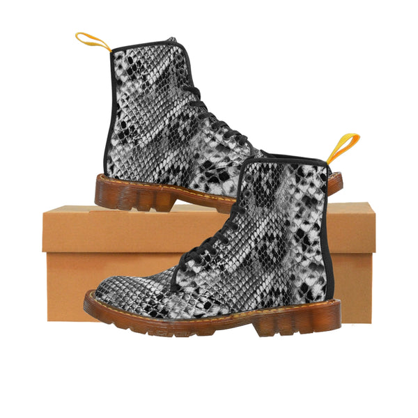 Grey Snake Men's Canvas Boots, Snake Animal Print Designer Winter Laced-up Boots For Men-Shoes-Printify-Brown-US 8-Heidi Kimura Art LLC