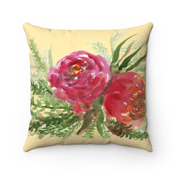 Red Rose Girlie Floral Wreath Print Premium Spun Polyester Square Pillow Case-Pillow-14x14-Heidi Kimura Art LLC