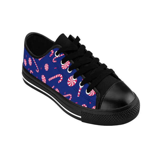 Navy Blue Red White Candy Cane Christmas Print Men's Low Top Sneakers Tennis Shoes-Men's Low Top Sneakers-Heidi Kimura Art LLC
