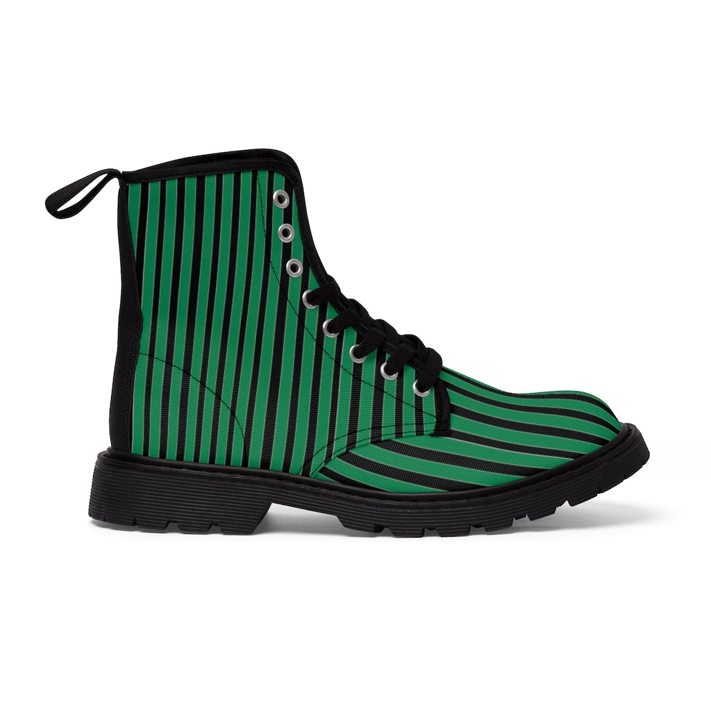 Green Striped Print Men's Boots, Black Stripes Best Hiking Winter Boots Laced Up Designer Shoes For Men-Shoes-Printify-Black-US 7-Heidi Kimura Art LLC Green Striped Print Men's Boots, Black Green Stripes Men's Canvas Hiking Winter Boots, Fashionable Modern Minimalist Best Anti Heat + Moisture Designer Comfortable Stylish Men's Winter Hiking Boots Shoes For Men (US Size: 7-10.5)