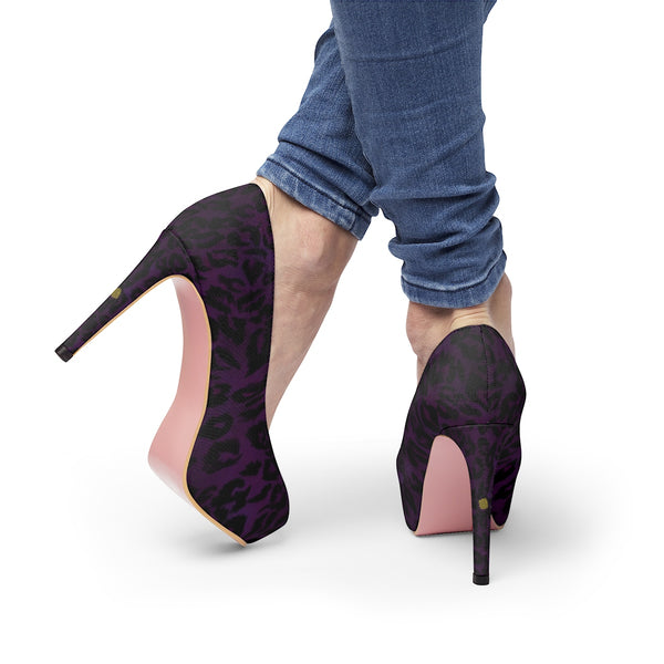 "Dark Purple Snow Leopard Animal Print Women's Platform Heels Pumps (US Size: 5-11)-Shoes-Heidi Kimura Art LLCDark Purple Leopard Heels, Snow Leopard Cheetah Animal Skin Pattern Designer Women's 4"" Platform Heels Pumps (US Size: 5-11)"