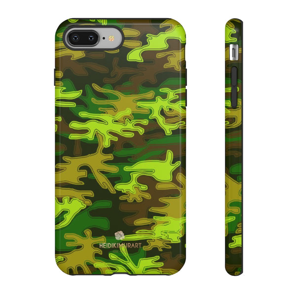 Green Camouflage Phone Case, Army Military Print Tough Designer Phone Case -Made in USA-Phone Case-Printify-iPhone 8 Plus-Glossy-Heidi Kimura Art LLC