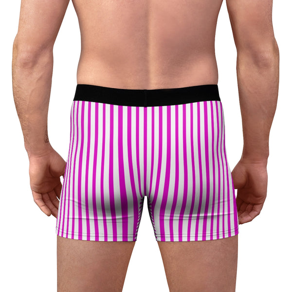 Pink Striped Men's Boxer Briefs, Vertical Stripe Print Premium Quality Underwear For Men-All Over Prints-Printify-Heidi Kimura Art LLC Pink Striped Men's Boxer Briefs, Vertical Stripe Print Sexy Hot Men's Boxer Briefs Hipster Lightweight 2-sided Soft Fleece Lined Fit Underwear - (US Size: XS-3XL)