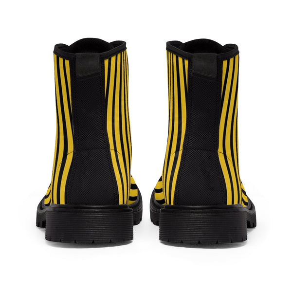 Yellow Striped Print Men's Boots, Black Stripes Best Hiking Winter Boots Laced Up Shoes For Men-Shoes-Printify-Heidi Kimura Art LLC