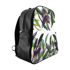 Green Tropical Leaf Print Bag, Purple Tropical Leaves Print School Backpack School Bag-Backpack-Large-Heidi Kimura Art LLC