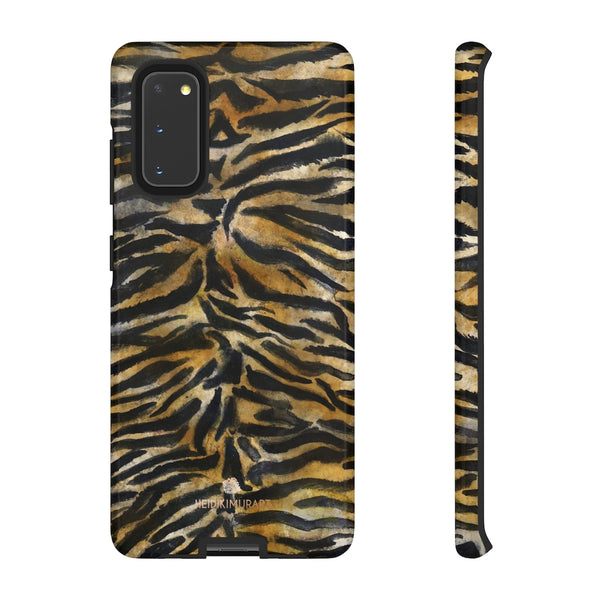 Brown Tiger Striped Tough Cases, Animal Print Best Designer Phone Case-Made in USA-Phone Case-Printify-Samsung Galaxy S20-Glossy-Heidi Kimura Art LLC