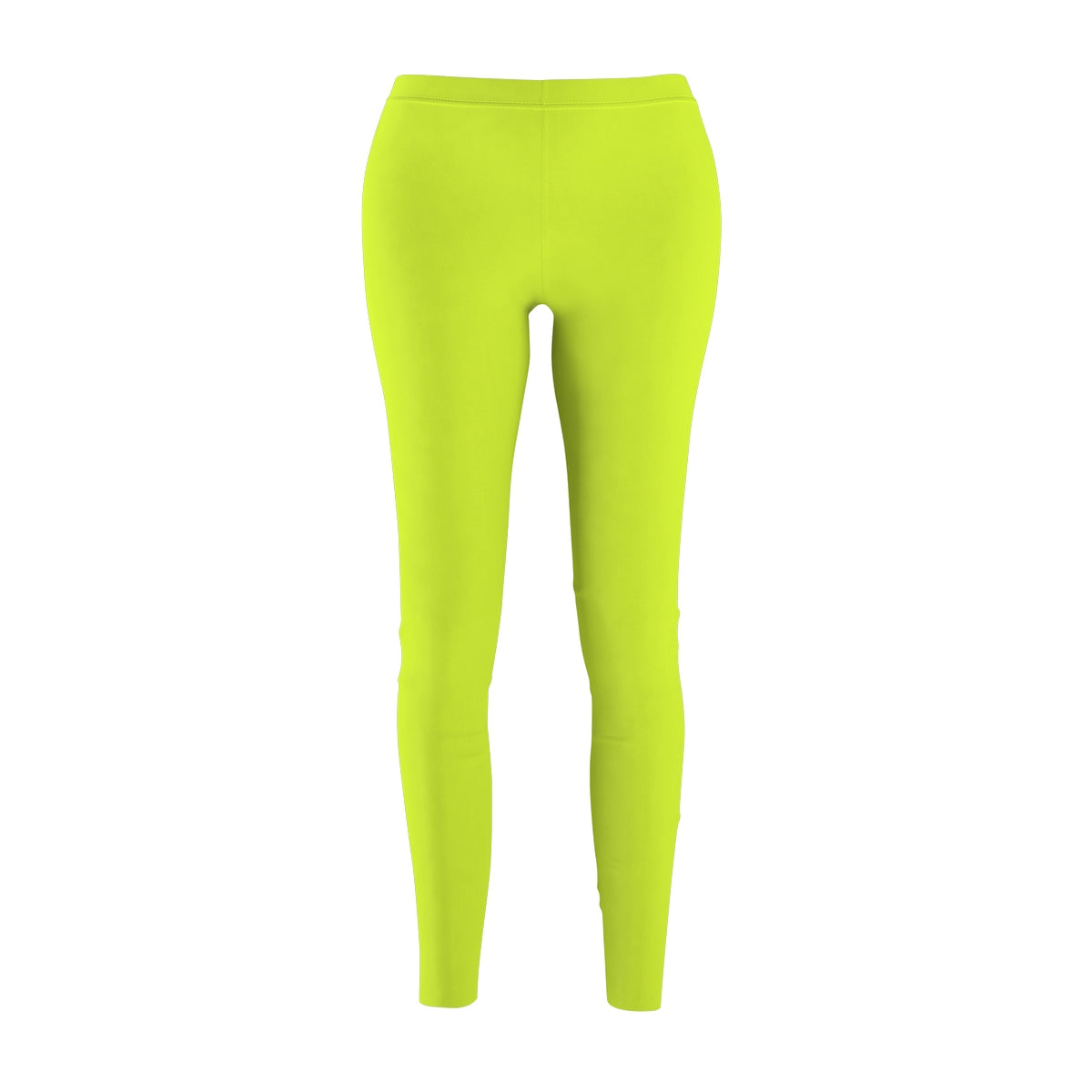 Lime Green Solid Color Women's Casual Leggings - Made in USA (US Size: XS-2XL)-Casual Leggings-M-Heidi Kimura Art LLC