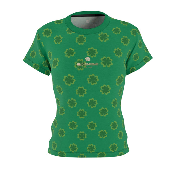 Dark Green Clover Pattern Print St. Patrick's Day Women's Crewneck Tee- Made in USA-Women's T-Shirt-XS-Black Seams-4 oz.-Heidi Kimura Art LLC
