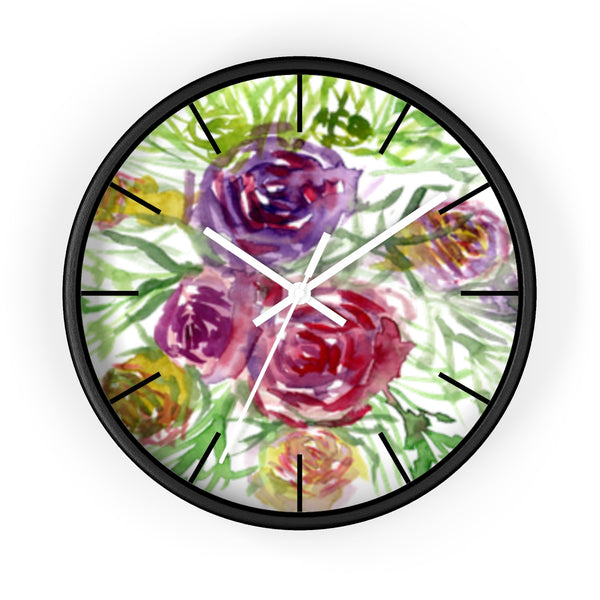 Pink Purple Floral Rose 10 inch Diameter Shabby Chic Girlie Wall Clock - Made in USA-Wall Clock-Black-White-Heidi Kimura Art LLC
