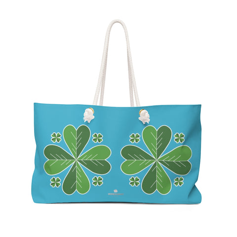 "Sky Blue Green Clover Leaf St. Patrick's Day Irish Print 24""x13""Weekender Bag- Made in USA-Weekender Bag-24x13-Heidi Kimura Art LLC"
