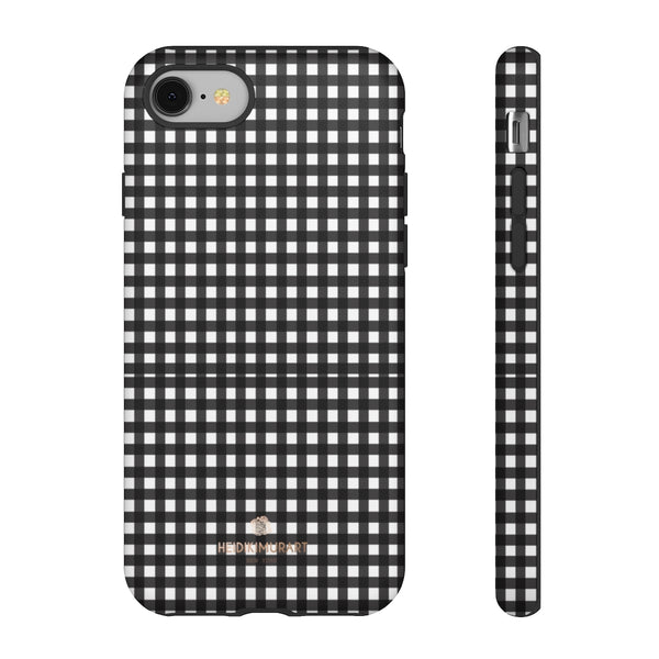 Buffalo Plaid Print Phone Case, Black White Tough Designer Phone Case -Made in USA-Phone Case-Printify-iPhone 8-Matte-Heidi Kimura Art LLC