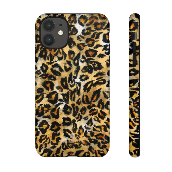 Brown Leopard Tough Cases, Animal Print Best Designer Phone Case-Made in USA-Phone Case-Printify-iPhone 11-Glossy-Heidi Kimura Art LLC