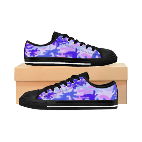 Purple Pink Violet Camo Army Military Print Premium Men's Low Top Canvas Sneakers-Men's Low Top Sneakers-Heidi Kimura Art LLC