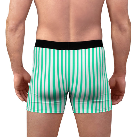Blue Striped Men's Boxer Briefs, Vertical Stripe Print Premium Quality Underwear For Men-All Over Prints-Printify-Heidi Kimura Art LLC Blue Striped Men's Boxer Briefs, Turquoise Blue and White Vertical Stripe Print Sexy Hot Men's Boxer Briefs Hipster Lightweight 2-sided Soft Fleece Lined Fit Underwear - (US Size: XS-3XL)