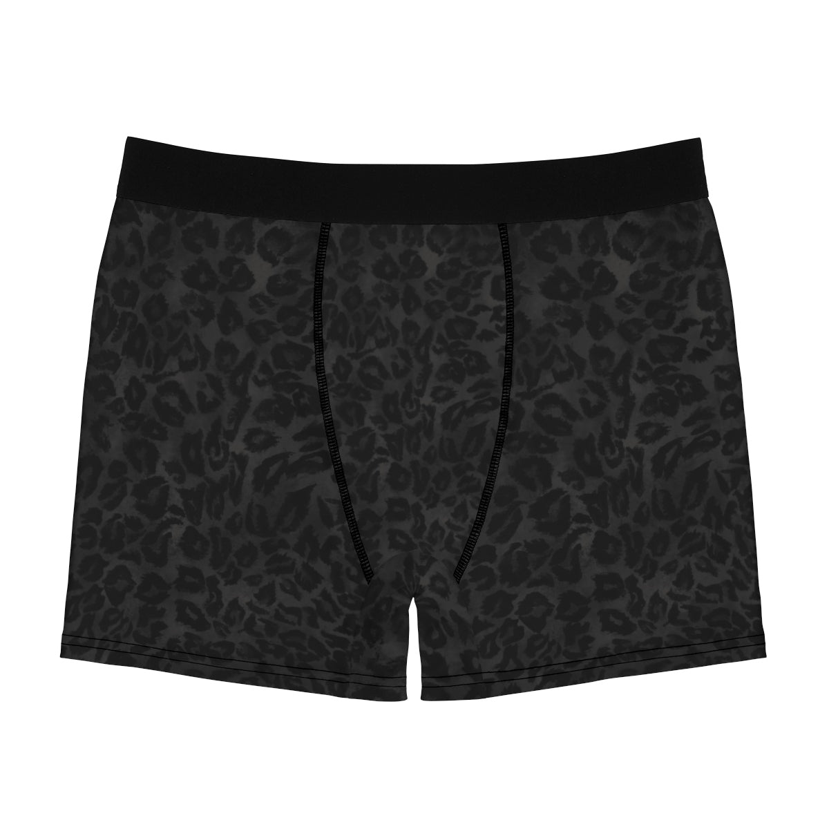 Black Leopard Wild Animal Print Sexy Hot Men's Boxer Briefs Underwear(US Size: XS-3XL)-Men's Underwear-L-Black Seams-Heidi Kimura Art LLC