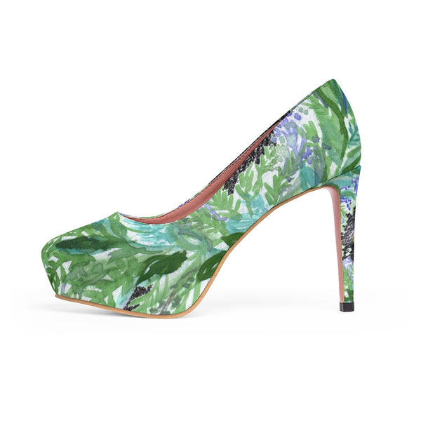 Black French Lavender Floral Print Women's Platform Stilettos Pumps Heels - Heidi Kimura Art LLC
