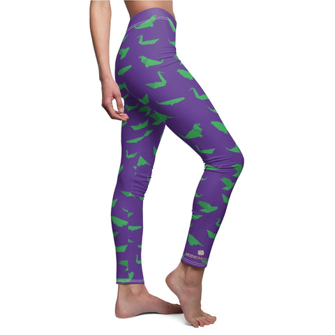 Purple Green Japanese Crane Origami Print Women's Dressy Casual Leggings-Made in USA-Casual Leggings-Heidi Kimura Art LLC