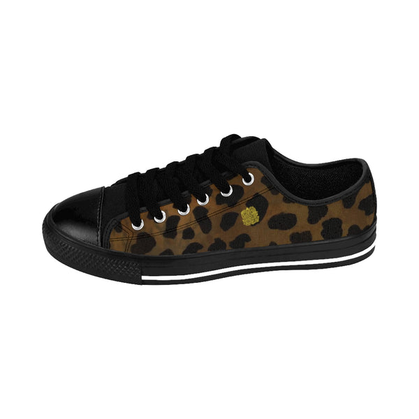 Brown Leopard Cheetah Animal Print Lightweight Men's Fashion Canvas Sneakers Shoes-Men's Low Top Sneakers-Heidi Kimura Art LLC