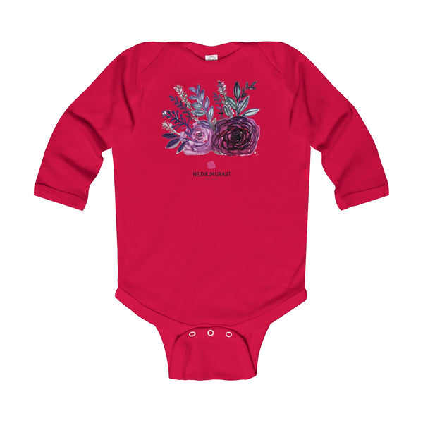Floral Rose Print Infant Long Sleeve Bodysuit - Made in United Kingdom (Size: 6M-24M)-Kids clothes-Red-12M-Heidi Kimura Art LLC