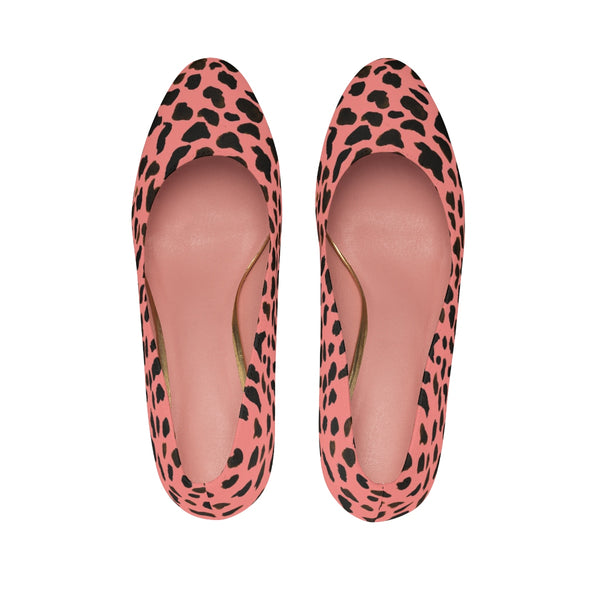 Peach Pink Brown Cow Print Designer 3 inch Durable Women's High Heels Shoes-3 inch Heels-Heidi Kimura Art LLC