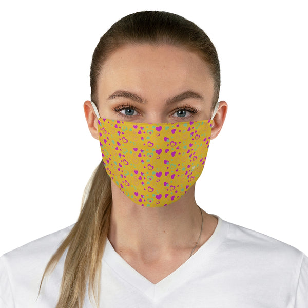 "Pink Hearts Face Mask, Adult Heart Pattern Fabric Face Mask-Made in USA-Accessories-Printify-One size-Heidi Kimura Art LLC Pink Hearts Face Mask, Yellow and Pink Valentine's Day Adult Heart Pattern Designer Fashion Face Mask For Men/ Women, Designer Premium Quality Modern Polyester Fashion 7.25"" x 4.63"" Fabric Non-Medical Reusable Washable Chic One-Size Face Mask With 2 Layers For Adults With Elastic Loops-Made in USA"