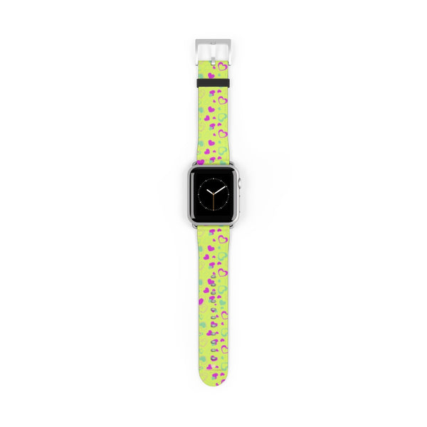 Light Green Pink Hearts Shaped Print Premium 38mm/ 42mm Watch Band- Made in USA-Watch Band-38 mm-Silver Matte-Heidi Kimura Art LLC