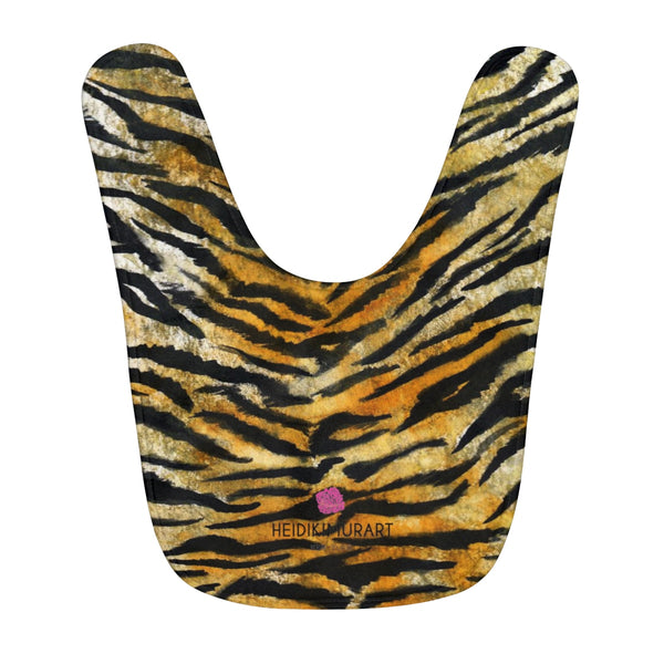 Orange Tiger Stripe Animal Print Cute Toddler Fleece Baby Bib - Made in USA-Kids clothes-One Size-Heidi Kimura Art LLC