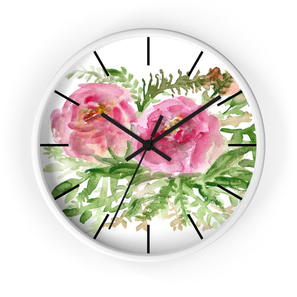 Pink Rose Vintage Style Floral Print Rose Flower 10 inch Diameter Wall Clock-Made in USA-Wall Clock-White-Black-Heidi Kimura Art LLC