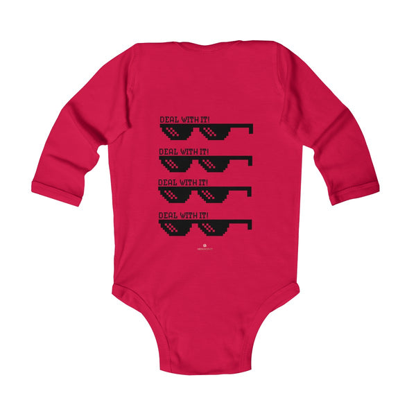 "Funny ""Deal With It"" Cute Baby Boy/Girls Infant Kids Long Sleeve Bodysuit -Made in USA-Infant Long Sleeve Bodysuit-Heidi Kimura Art LLC"
