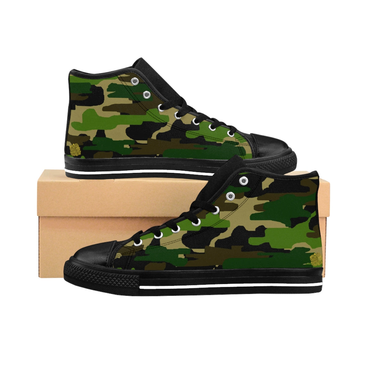 Camouflage Green Military Army Print Pattern Men's High Top Sneakers (US Size 6-14)-Men's High Top Sneakers-Black-US 9-Heidi Kimura Art LLC Camouflage Men's High Top Sneakers, Camouflage Green Military Army Print Pattern Designer Shoes - Men's High Top Sneakers (US Size 6-14)