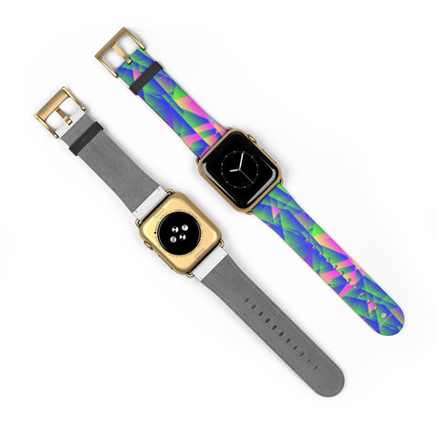 Blue Diamond Geometric Print 38mm/42mm Watch Band For Apple Watch- Made in USA-Watch Band-Heidi Kimura Art LLC Blue Diamond Apple Watch Band, Blue Diamond Geometric Abstract Print Pattern 38 mm or 42 mm Premium Best Printed Designer Top Quality Faux Leather Comfortable Elegant Fashionable Smart Watch Band Strap, Suitable for Apple Watch Series 1, 2, 3, 4 and 5 Smart Electronic Devices - Made in USA