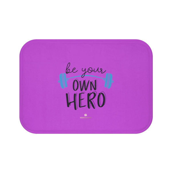 "Pink ""Be Your Own Hero"" Inspirational Quote Microfiber Bath Mat- Printed in USA-Bath Mat-Small 24x17-Heidi Kimura Art LLC"