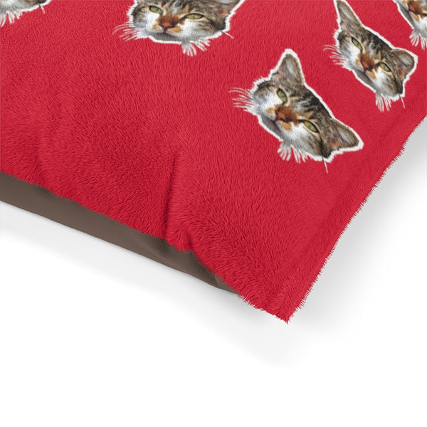 Red Cat Pet Bed, Solid Color Machine-Washable Pet Pillow With Zippers-Printed in USA-Pets-Printify-Heidi Kimura Art LLC