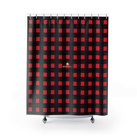 "Buffalo Red Plaid Print Bathroom Bath Shower Curtains - Made in USA,Red Black Shower,Red and Black Plaid,Buffalo Plaid Shower,Cabin Shower Curtain Buffalo Red Plaid Print Premium Large Size 71""x74"" Shower Curtains-Made in USA, Plaid Shower Curtain, Lumberjack Plaid, Buffalo Plaid Shower Buffalo Red Plaid Print Designer Top Quality Bathroom Bath Shower Curtains-Made in USA"