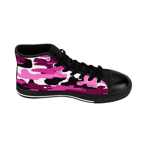 "Pink Camo Women's Sneakers, Army Print Designer High-top Sneakers Tennis Shoes-Shoes-Printify-Black-US 9-Heidi Kimura Art LLCPink Camo Women's Sneakers, Purple Army Military Camouflage Print 5"" Calf Height Women's High-Top Sneakers Running Canvas Shoes (US Size: 6-12)"